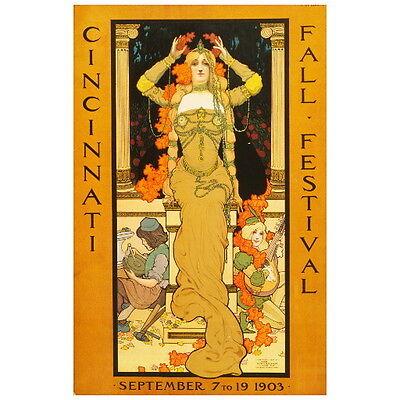 1903 Cincinnati Fall Festival Ad Poster Deco Magnet, Art Nouveau Decorative Gift - Fall Festival Decorations