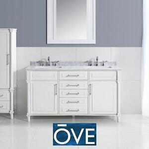 "NEW* OD 60"" ABERDEEN VANITY COMBO - 120523702 - OVE DECORS WHITE CABINET MARBLE TOP DOUBLE VANITIES CABINETS TOPS BAT..."