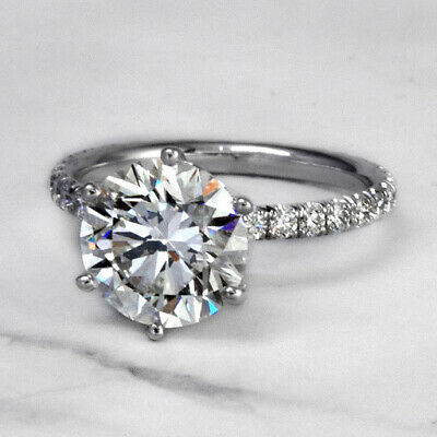 Lovely 2.50 Ct. Round Cut Diamond Six Prong Engagement Ring J, VS1 GIA 14k