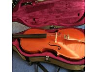 Cello with bow and hard case (full size)
