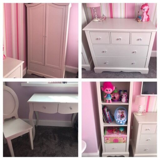 NEXT Ivory Bedroom Furniture For Girls Wardrobe, Desk, Bookcase, Chair And  Chest Of