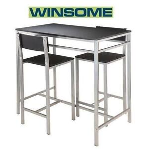 NEW* WINSOME HANLEY 3PC TABLE SET Winsome Hanley 3-Piece High Table with 2 High Back Stools - 98827461