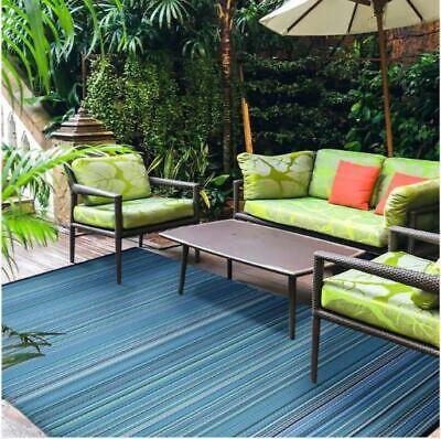 Versatile Bali Style 5' x 7' Indoor Outdoor Patio Garden Beach Mat Area Rug Blue ()