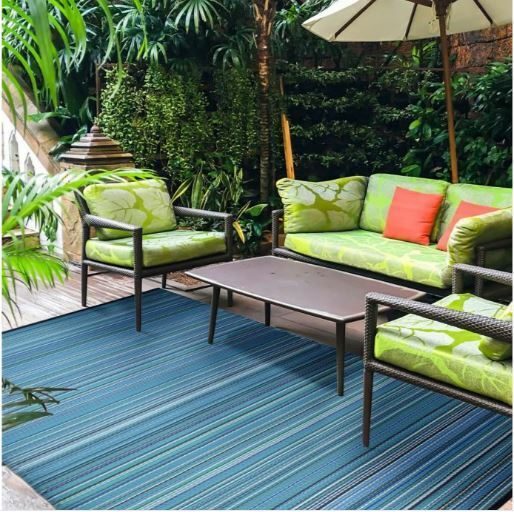 Weather-Proof canny#01 Blue Indoor//Outdoor Area Rug  size 5x7 6x9