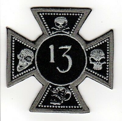 IRON MALTESE CROSS NUMBER 13 SKULLS EMBROIDERED IRON ON PATCH biker vest cut