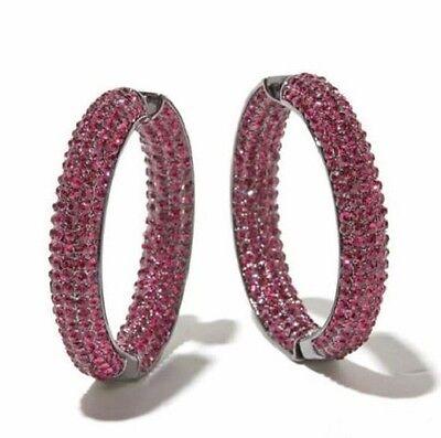 New Joan Boyce Pavé Crystal Inside Out Hoop Earrings Hematite & Fuchsia