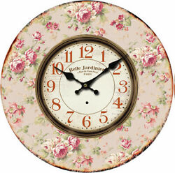 Clock French Country Vintage Wall PINK FLORAL 1 Clocks Time 34cm New