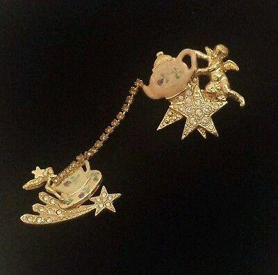 Kirks Folly Gold Tone Fairy Teapot Rhinestone Pin Brooch