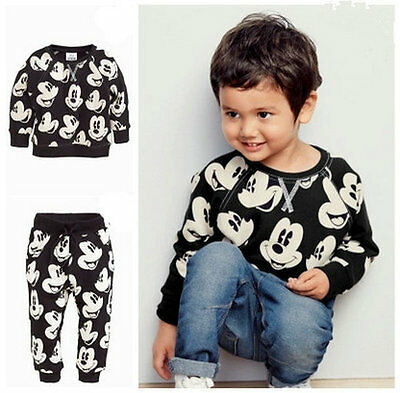 2pcs Toddler Kids Baby Boys Mickey Mouse Sport Tracksuits Outfit Clothing Sets - Mickey Mouse Outfit