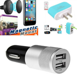 Car Air Vent Magnetic Holder + Dual USB Ports + wall Charger