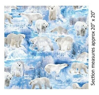Christmas Fabric - Winter's Pearl Polar Bear Scene Blue - Kanvas Benartex YARD