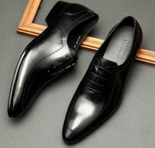 Details about  /Mens Dress Formal Wedding Real Leather Shoes Slip on Pointy Toe Business British
