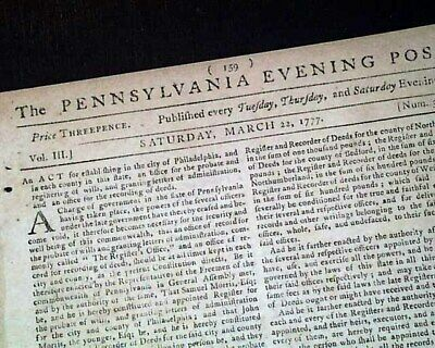 Rare REVOLUTIONARY WAR Philadelphia PA Pennsylvania 1777 Old American Newspaper