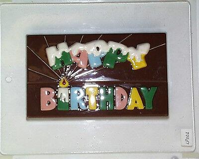 HAPPY BIRTHDAY BAR CLEAR PLASTIC CHOCOLATE CANDY MOLD LP002