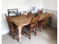 Large Beautiful Vintage Wood Dining Table