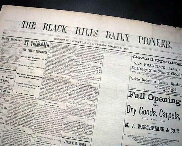 Very Rare DEADWOOD Lawrence County SOUTH DAKOTA Gold Mining Town 1878 Newspaper