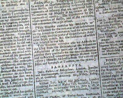REVOLUTIONARY WAR American Expenses & Trade w/ England Opens 1783 Newspaper