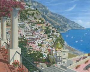 ORIGINAL-RICHARD-HARPUM-Positano-Vista-Amalfi-Coast-Italy-Coastal-PAINTING
