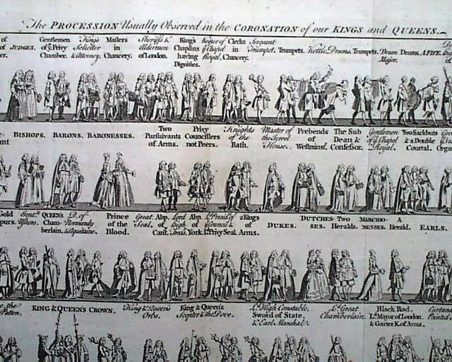 Queen Charlotte & King George III Marriage & Coronation - 1761 British Magazine