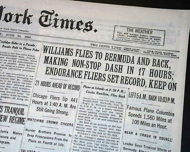 """HUNTER BROTHERS Airplane """"City of Chicago"""" Flight Time Record 1930 Old Newspaper"""
