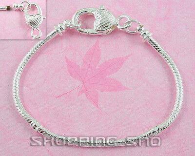 10pcs Silver Snake Chain Lobster Clasp Heart Charm Bracelets Fit European Beads