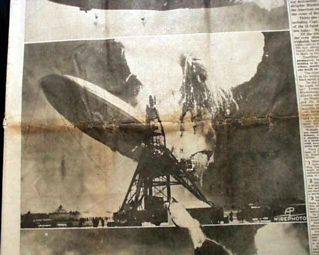 LZ 129 HINDENBURG Airship Zeppelin EXPLOSION Disaster w/ Photos 1937 Newspaper
