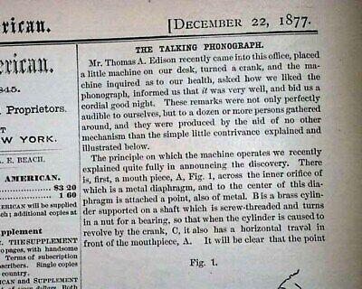 Best THE PHONOGRAPH Thomas Alva Edison Invention w/ Print 1877 Science (Thomas Edison Best Invention)