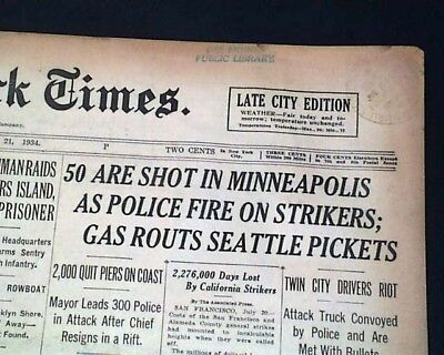 "MINNEAPOLIS GENERAL STRIKE Teamsters ""Bloody Friday"" Police Attack1934 Newspaper"