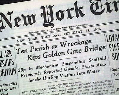 GOLDEN GATE BRIDGE Suspension Construction Workers Fall Killed 1937 Newspaper