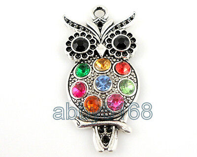 FreeShip Cute Tibetan Silver Owl Charm Pendant Inlay Crystal Choose Quantity DY1