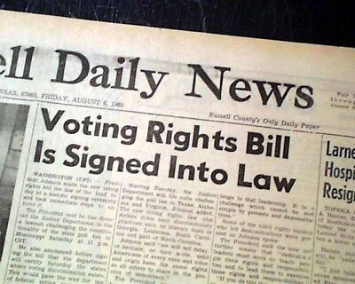 VOTING RIGHTS ACT Blacks Negroes Signed into Law Lyndon Johnson 1965  Newspaper
