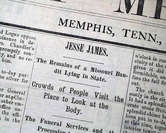 OUTLAW JESSE JAMES Missouri Bandit DEATH Funeral 1882 Memphis TN Old Newspaper