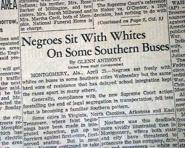Southern BUS SEGREGATION Montgomery Alabama Boycott Continues 1956 Old Newspaper