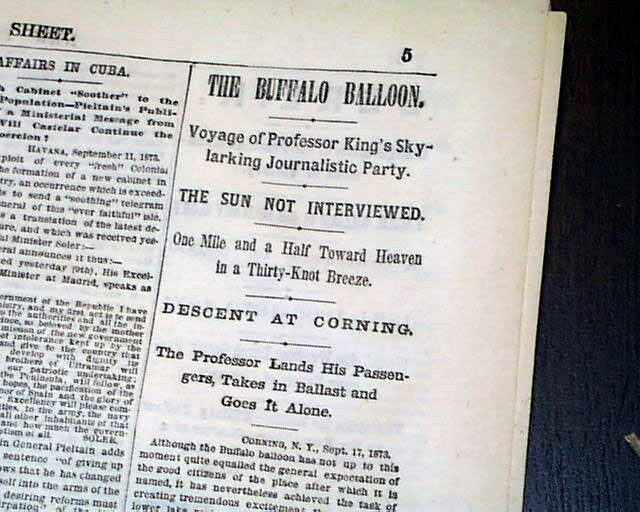 """Early """"Buffalo"""" BALLOONING Pioneer Samuel Archer King Voyage 1873 Old Newspaper"""