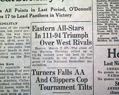 Very 1st NBA Porfessional Basketball ALL-STAR Game 1951 Springfield MA Newspaper