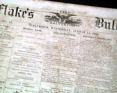 Rare GALVESTON TX Texas Post Civil War Stronghold Reconstruction 1866 Newspaper