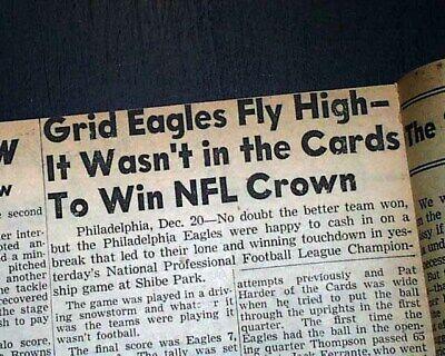 PHILADELPHIA EAGLES Win NFL Football Championship Philly Blizzard 1948 Newspaper ()