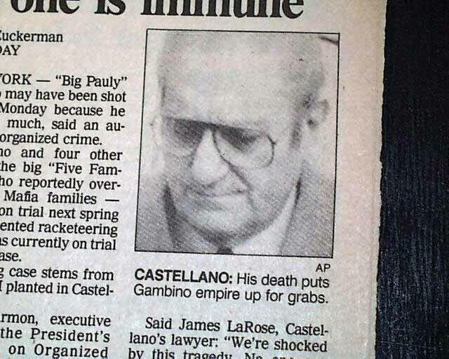 PAUL CASTELLANO Gambino Crime Family Mafia Boss ASSASSINATION 1985 Newspaper