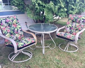 Patio Table with 2 swivel chairs