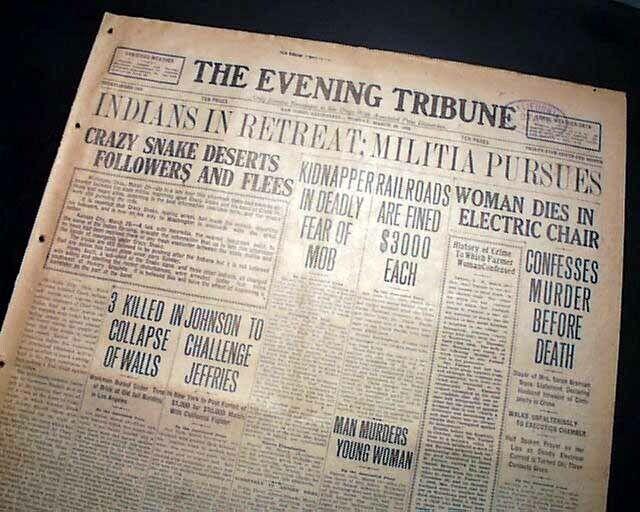 1909 CRAZY SNAKE REBELLION Muskogee Oklahoma Creek People Indians 1909 Newspaper