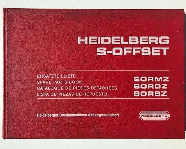 Original Heidelberg S-Offset Spare Parts Book- SORMZ SORDZ SORSZ