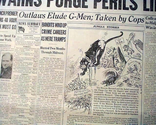 FLOYD HAMILTION Bonnie & Clyde Gang - Public Enemy # 1 CAPTURED 1938 Newspaper