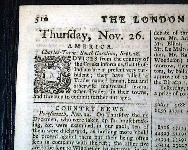 MUSCOGEE INDIANS Creek Nation Native Americans South Carolina 1772 Old Newspaper