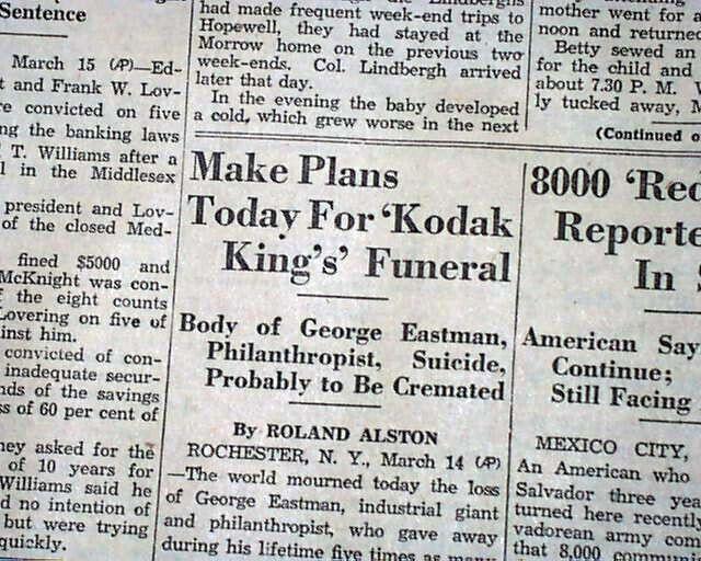 KODAK CAMERA Roll Film Inventor GEORGE EASTMAN SUICIDE Photography1932 Newspaper