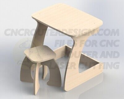 Table With Seat For Children 15mm Vectors CNC Router Plan Files DXF CDR 086