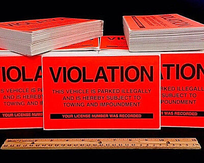 QTY 50 (BEST DEAL) VIOLATIONS NO ILLEGAL PARKING WARNING VIOLATION SIGN STICKERS