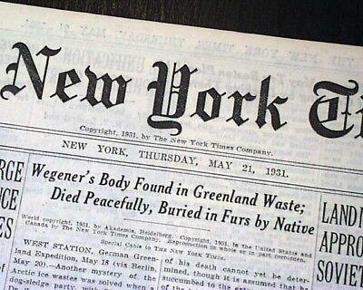 ALFRED WEGENER German Polar Arctic Pioneer Body FOUND Greenland 1931 Newspaper