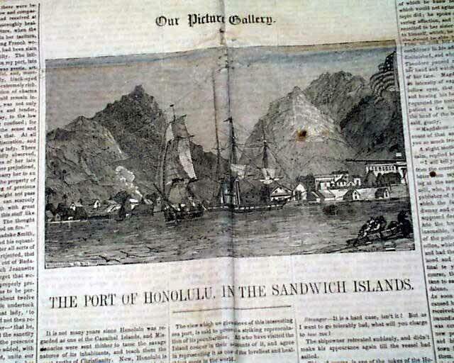 Early HONOLULU HARBOR Sandwich Islands Kingdom of Hawaii PRINT 1851 Newspaper