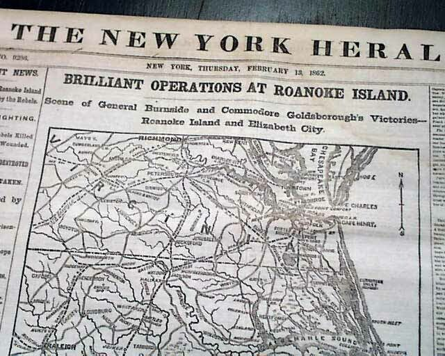BATTLE OF ROANOKE ISLAND Burnside Expedition Start MAPS 1862 Civil War Newspaper