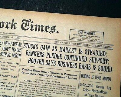 The Great STOCK MARKET Wall Street CRASH OF 1929 in a New York City Newspaper